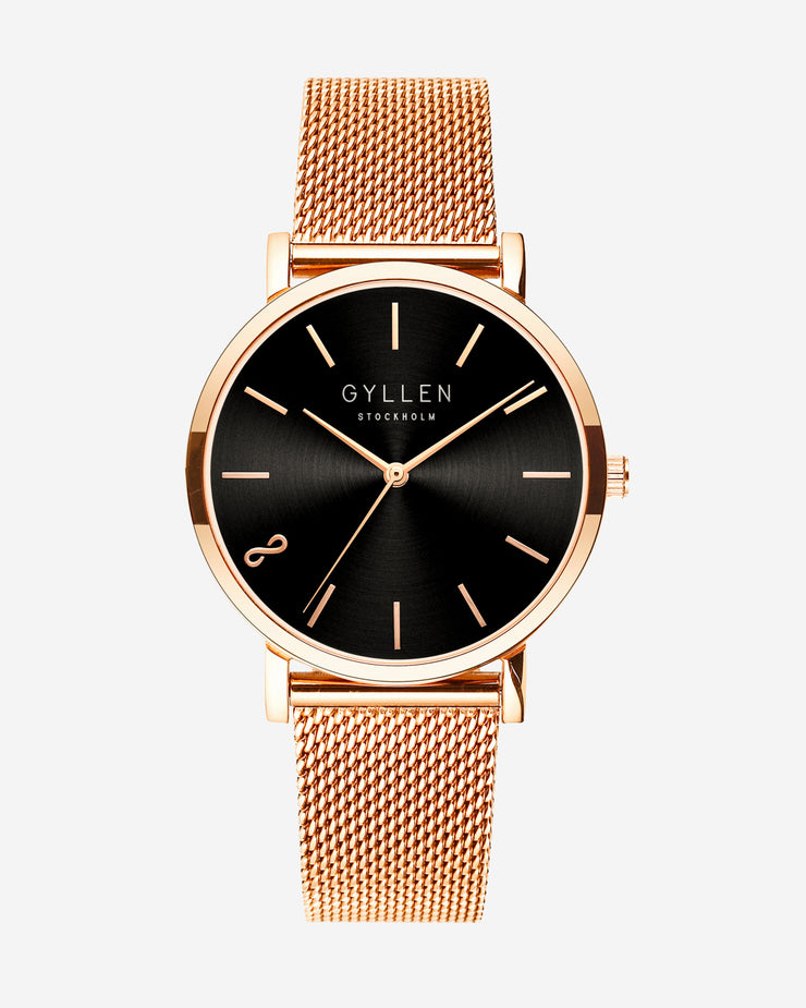 Rose Gold Watch With Black Face And Eternity Sign