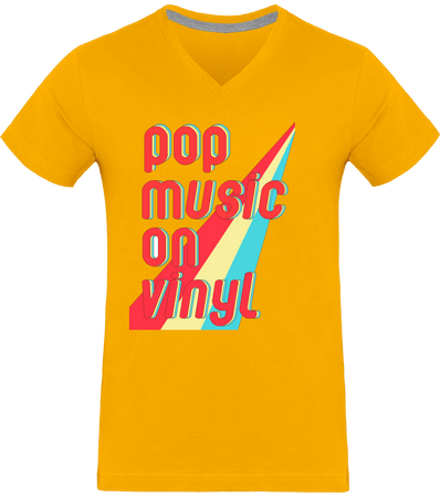 T-shirt Homme Col V - Pop Music On Vinyl