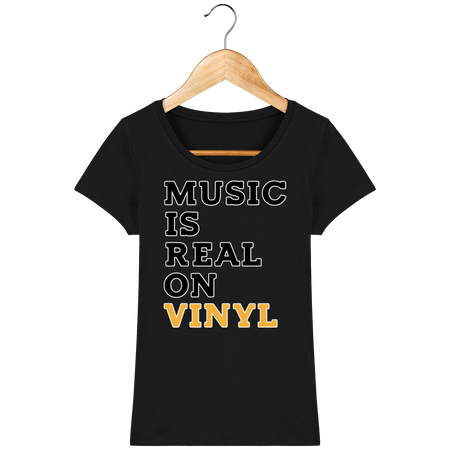 T-Shirt Femme Bio 🌱 - Music Is Real On Vinyl