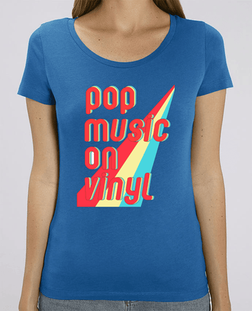 T-shirt Femme Bio Col rond - Pop Music On vinyl