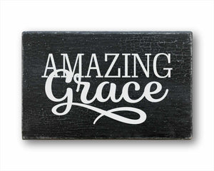amazing grace how sweet the sound wood farmhouse home decor sign for sale