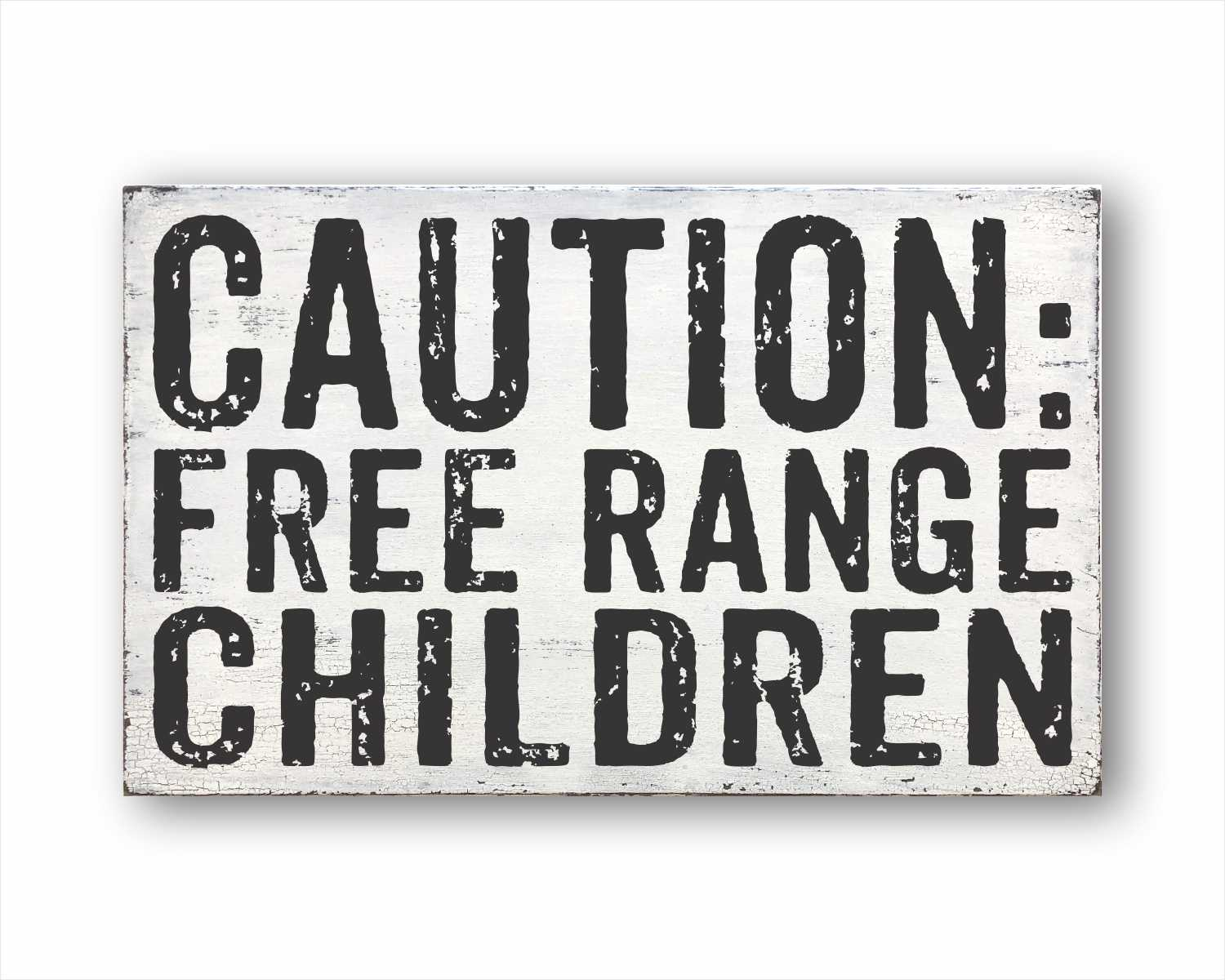 caution free range children wood farmhouse box sign for sale