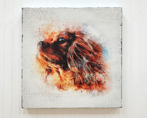 spaniel dog watercolor box sign