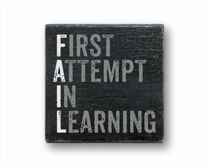 fail: first attempt in learning box sign