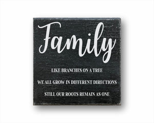 Family Like Branches On A Tree We All Grow In Different Directions Still Our Roots Remain As One Box Sign