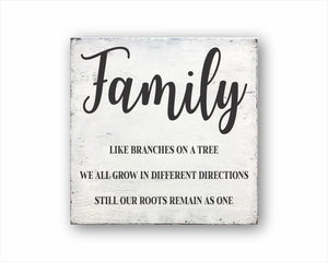 Family Like Branches On A Tree We All Grow In Different Directions Still Our Roots Remain As One Sign