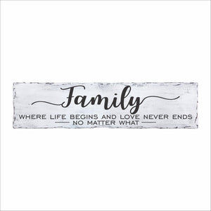 Family Where Life Begins And Love Never Ends No Matter What Plank Sign