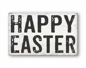 Happy Easter: Rustic Rectangular Wood Sign