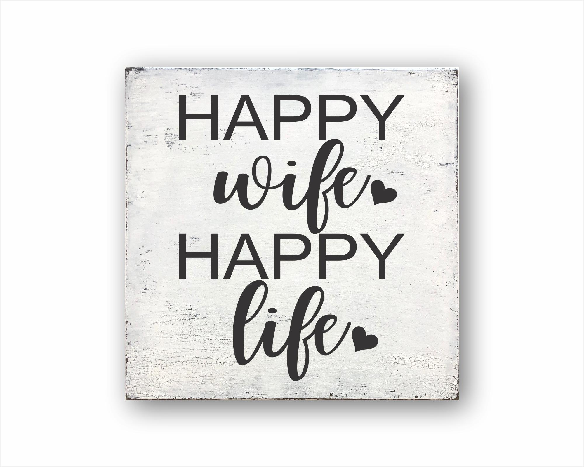 happy wife happy life wood farmhouse style box sign for sale