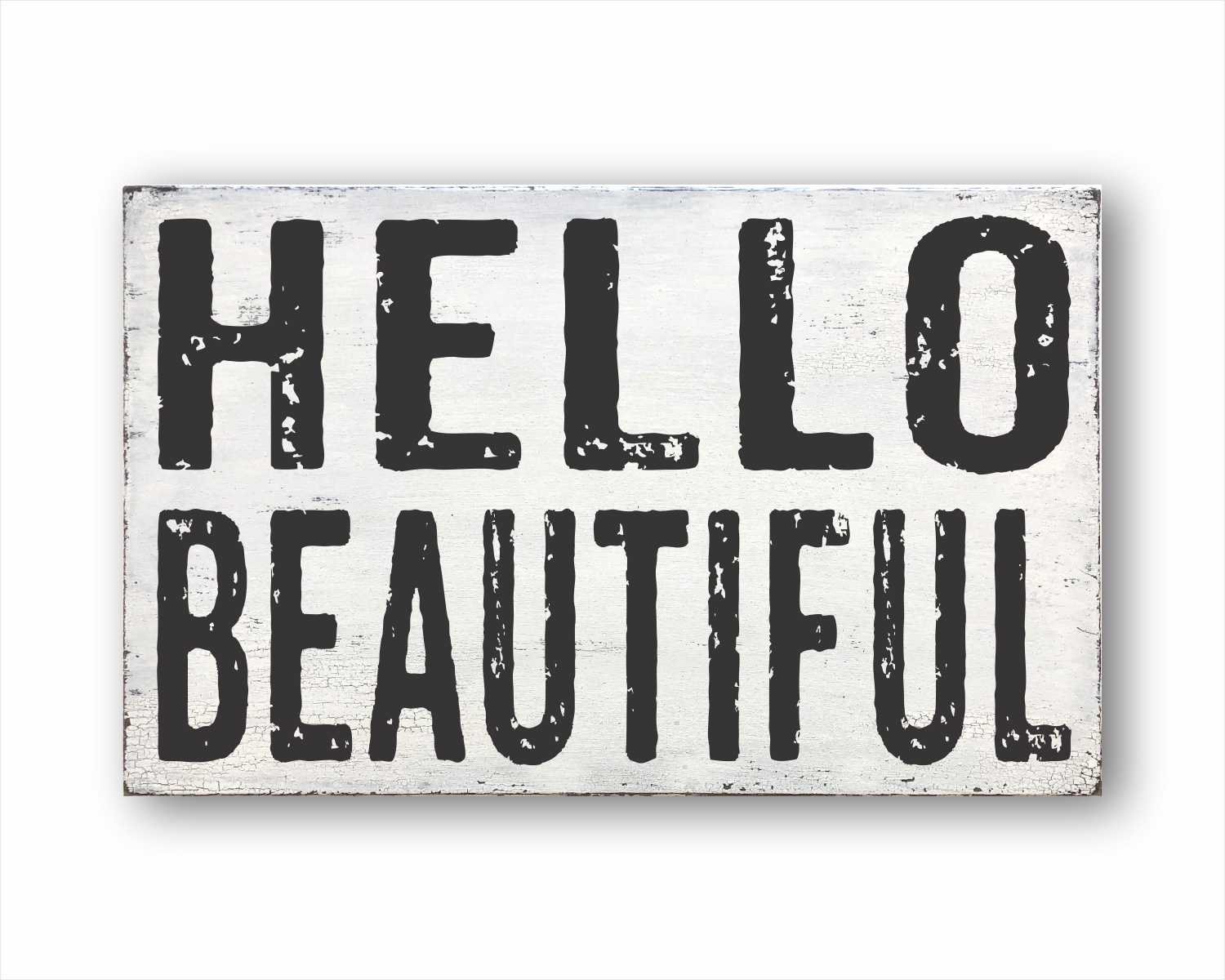 hello beautiful wood farmhouse style box sign for sale