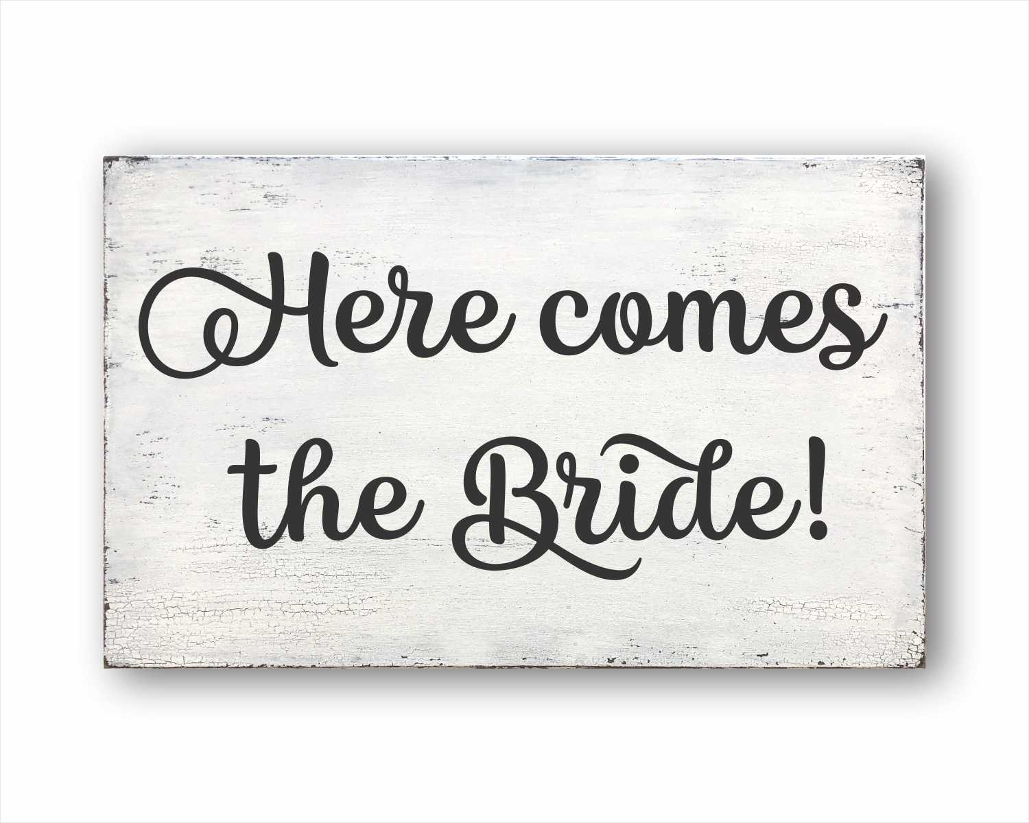 here comes the bride wood farmhouse style box sign for sale