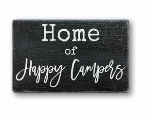 Home Of Happy Campers: Rustic Rectangular Wood Sign