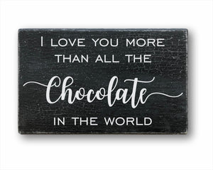 I Love You More Than All The Chocolate In The World Sign
