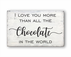 I Love You More Than All The Chocolate In The World Box Sign