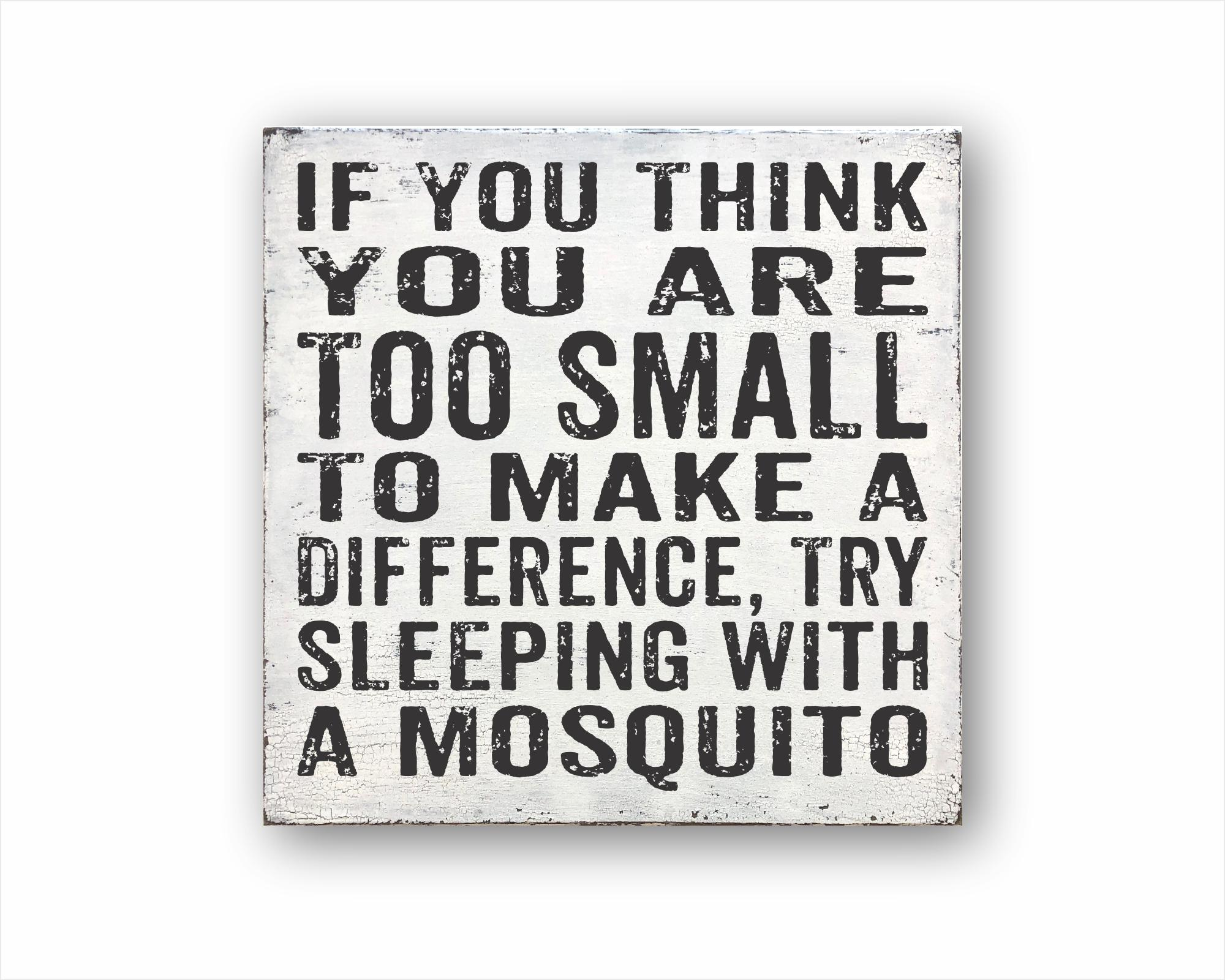 If You Think You Are Too Small To Make A Difference, Try Sleeping With A Mosquito: Rustic Square Wood Sign