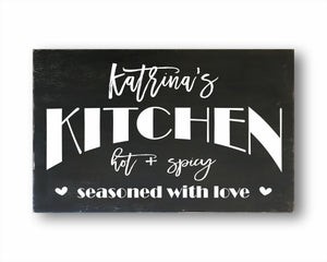 Kitchen Hot And Spicy Seasoned With Love: Personalized Rustic Rectangular Wood Sign