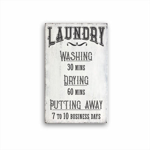 Laundry Washing 30 Mins Drying 60 Mins Putting Away 7 to 10 Business Days Box Sign