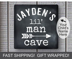 Lil' Man Cave Metal Sign