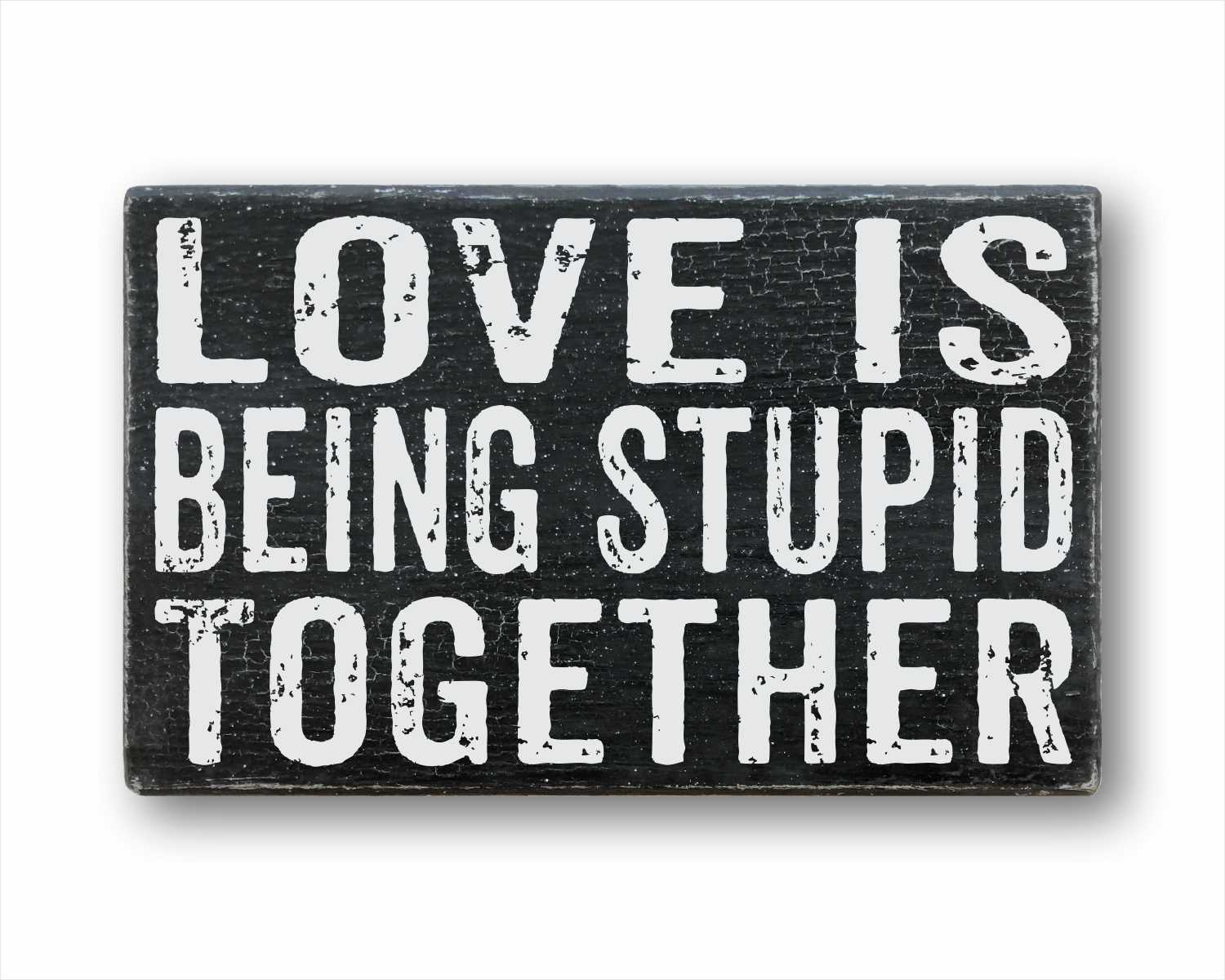 Love Is Being Stupid Together: Rustic Rectangular Wood Sign