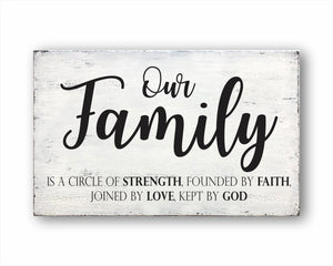 Our Family Is A Circle Of Strength, Founded By Faith, Joined By Love, Kept By God Sign