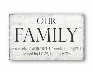 Our Family Is A Circle Of Strength Founded By Faith Joined By Love Kept By God Sign