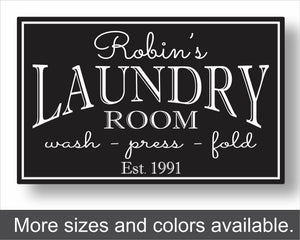 custom metal laundry room sign