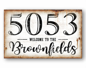 Rustic Last Name & House Number Welcome Sign