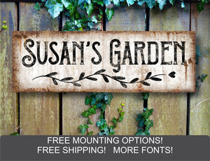 Custom Garden Sign, Rustic Metal