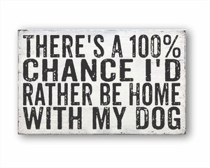 There's A 100% Chance I'd Rather Be Home With My Dog: Rustic Rectangular Wood Sign