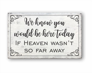 We Know You Would Be Here Today If Heaven Wasn't So Far Away Box Sign