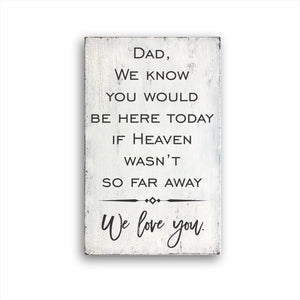 Dad, We Know You Would Be Here Today If Heaven Wasn't So Far Away We Love You. Box Sign