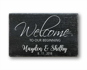 Welcome To Our Beginning Wedding Sign