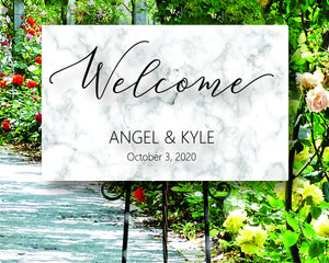 Custom Metal Welcome to our wedding marble sign