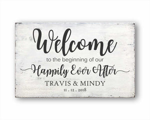 Welcome To The Beginning Of Our Happily Ever After Sign
