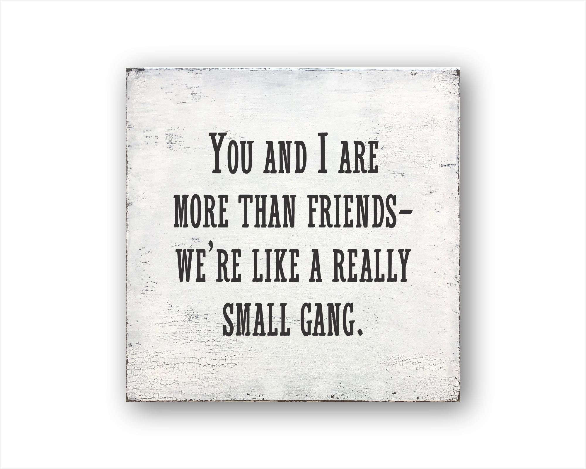You And I Are More Than Friends We're Like A Really Small Gang: Rustic Square Wood Sign