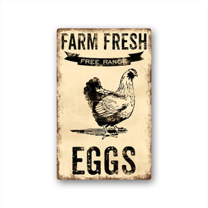 Farm Fresh Free Range Chickens Vintage Metal Sign