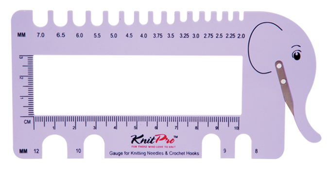 Knitting Needle and Crochet Hook Gauge with Yarn Cutter