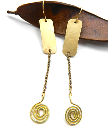 Spiral Brass Drop Earrings