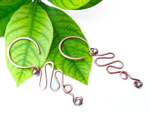 Copper Wave Thread Earrings