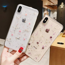 Load image into Gallery viewer, Real Flowers Dried Flowers Transparent Soft TPU Cover For Coque iPhone X 6 6S 7 8 plus Phone Case For iphone XS Max XR Cover