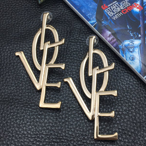 Letter Love Big Stud Earrings