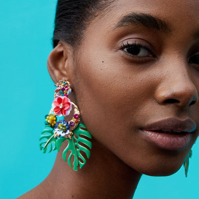 Vintage Flower Statement Earrings