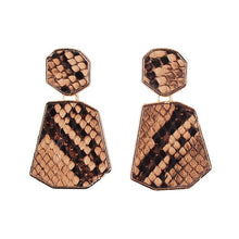 Load image into Gallery viewer, Faux Snake Print Dangle Earrings
