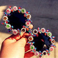 Load image into Gallery viewer, Handmade Vintage Crystal Round Sunglasses