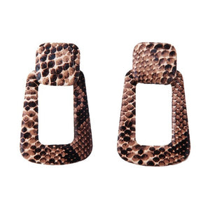 Faux Snake Print Dangle Earrings
