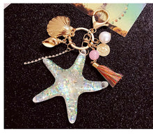 Load image into Gallery viewer, Starfish Pearl Shell Keychain