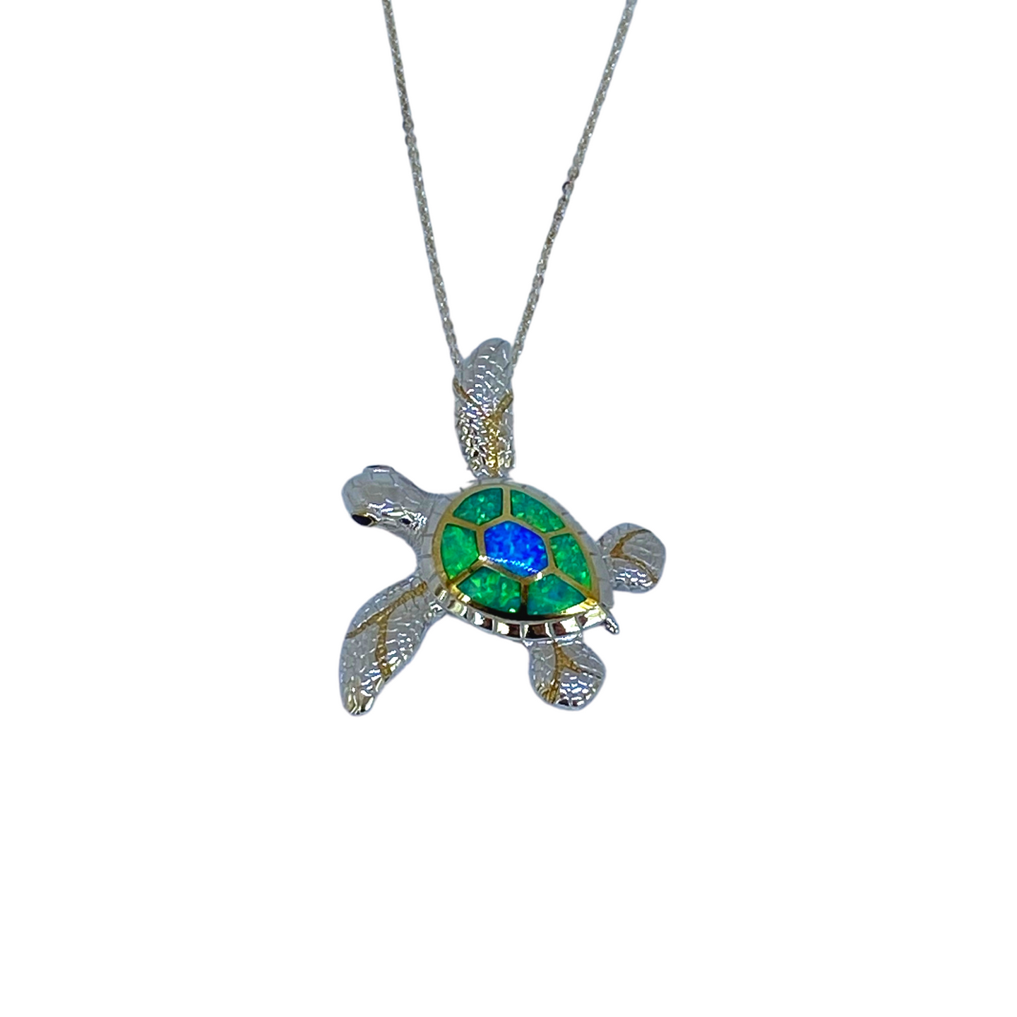 Green and Blue Opal Turtle Yo Yo Pendant