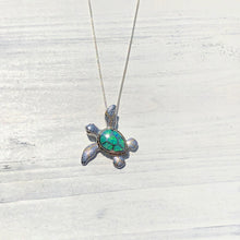 Load image into Gallery viewer, Green Opal Sea Turtle Pendant