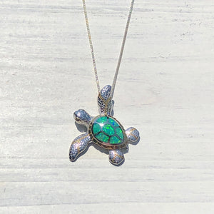 Green Opal Sea Turtle Pendant