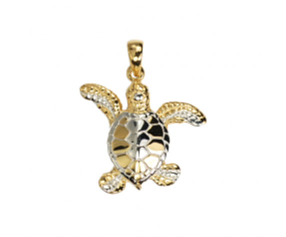 Sterling Silver and Gold Turtle Pendant